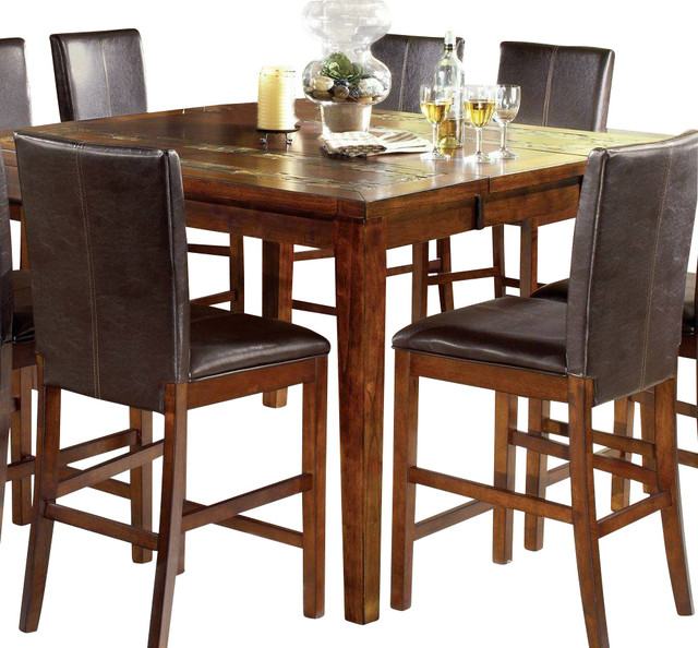 Steve Silver Davenport Rustic 36 Inch Square Counter Height Table In Oak Transitional Dining