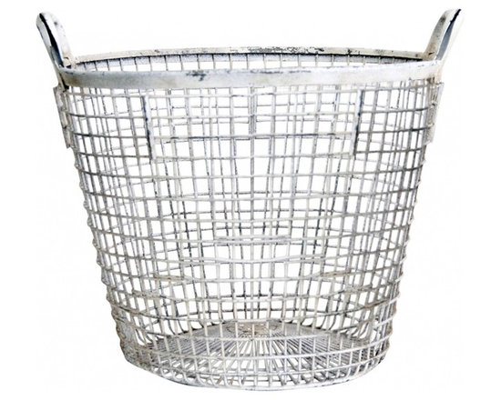 Mussel Basket - A great French wire mussel basket - worn white paint, utilitarian either indoors or outdoors. Sturdy and shows desirable signs of a time worn piece..