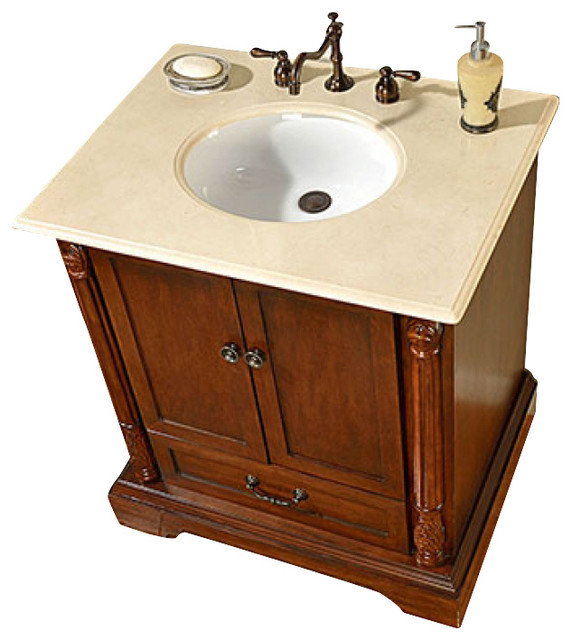 32 inch traditional single sink bathroom vanity traditional bathroom vanities and sink for Single sink consoles bathroom