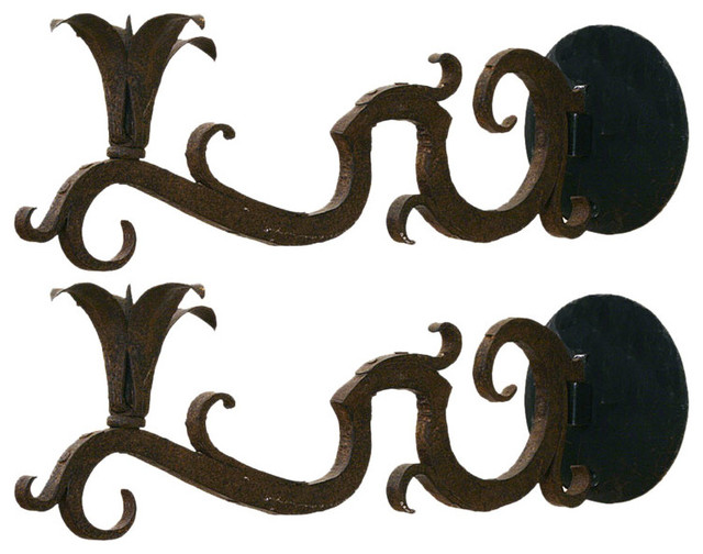 Pair of Wrought Iron Baroque Ornamental Sconces candles-and-candle-holders