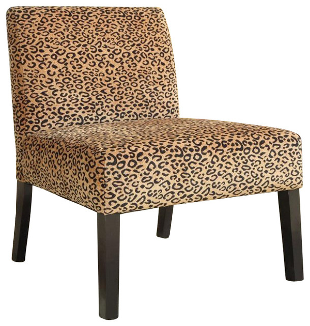 Coaster Accent Chair with Wood Legs in Leopard Print transitional-living-room-chairs