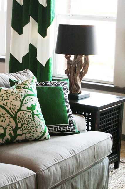 green and neutral family room eclectic-family-room