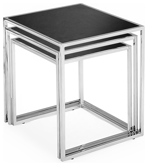 Nesting tables in black glass modern side tables and end tables