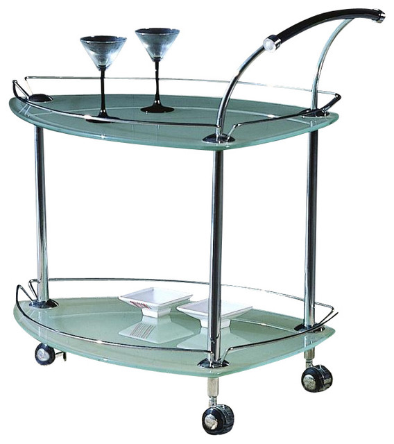 Contemporary Triangular Rolling Tea Cart W Fr
