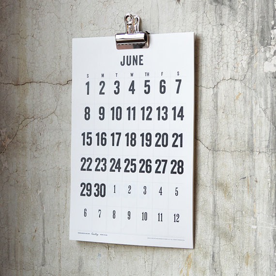 2014 wall calendar big numbers off white by decoylab contemporary home decor by etsy Home decor wall calendar