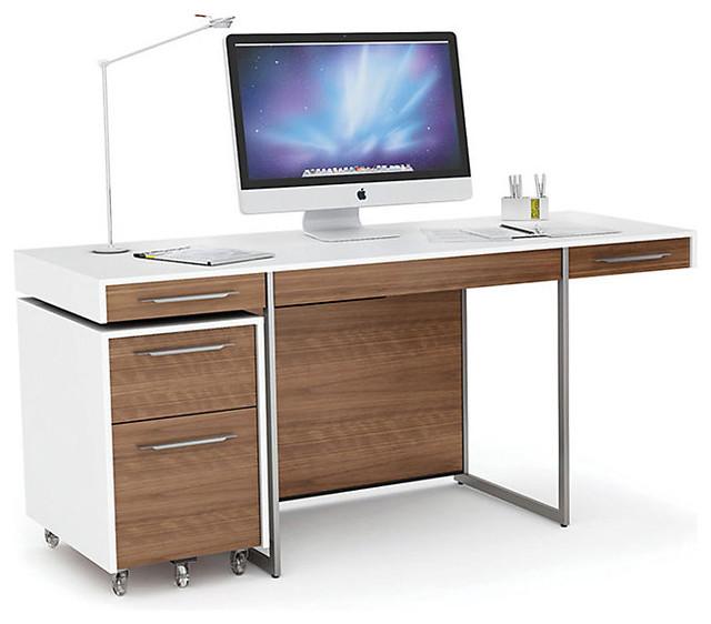 format 3 drawer desk satin white and natural walnut modern desks and