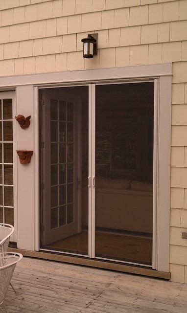 Mirage retractable door screens french double doors for Retractable double screen door