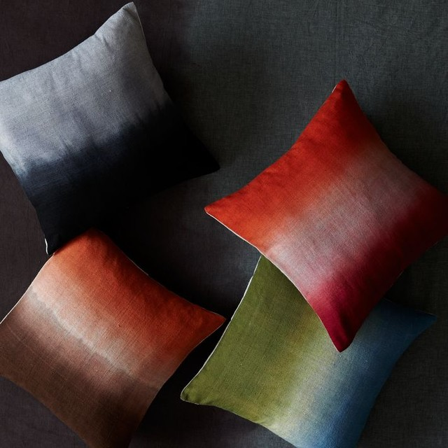 Dip Dye Rainbow Silk Pillow Cover Contemporary