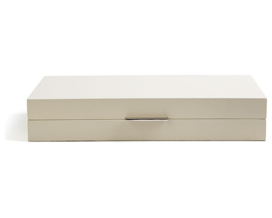 Global Views - Luxe Organizer, Medium - Bring refined elegance into your home with these creamy white lacquer boxes from Barbara Barry. They are great for storage but also look stunning sitting on top of your dresser or vanity.