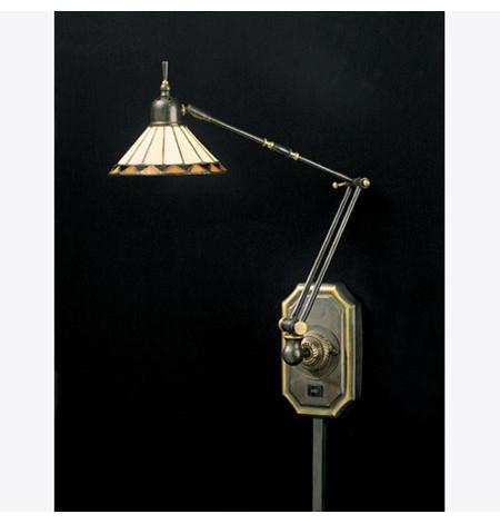 Quoizel TF8156Z Tiffany 1 Light Swing Arm Light/Wall Lamp, Medici Bronze contemporary-wall-lighting