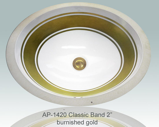 "Hand Painted Gold & Patinum Undermounts by Atlantis Porcelain Art - ""CLASSIC BANDS 2"" with/2 LINES"" Shown on AP-1420 white Monaco Medium undermount 17-1/4""x14-1/4""available on burnished gold or platinum and bright gold or platinum on any of our sinks."