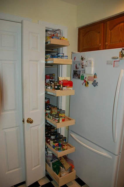 Narrow pantry pull out shelving louisville by for Narrow kitchen units