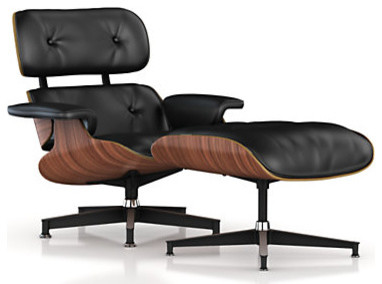 Eames Lounge Chair and Ottoman, Walnut Frame/Black Standard Leather midcentury-accent-chairs
