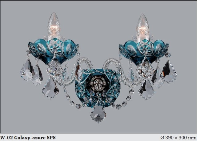 Czech Crystal Wall Lights : Bohemian Czech Crystal Wall sconce in Azure Blue - Modern - Chandeliers - adelaide - by Murano ...