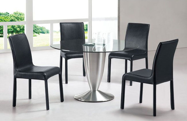 Elegant round rectangular clear glass top leather dining room furniture contemporary dining - Glass top dining room tables rectangular ...