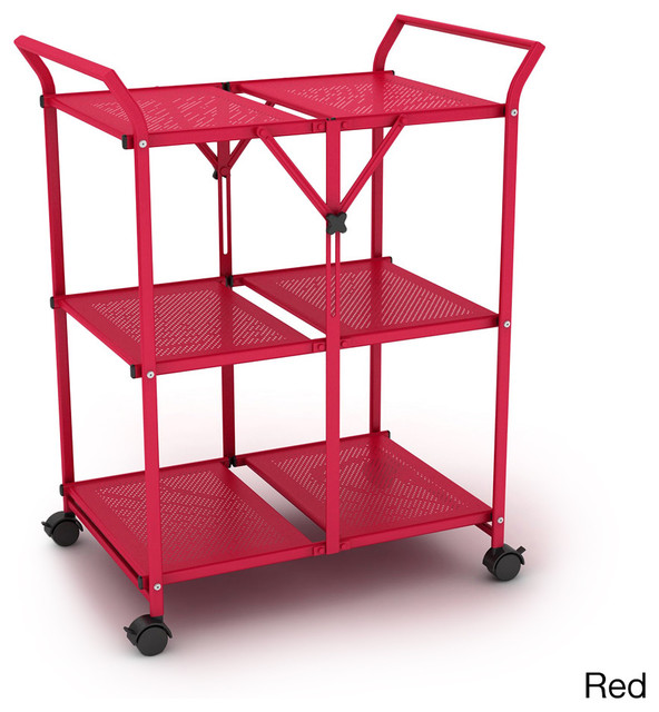 3-shelf Metal Folding Cart with Handle - Contemporary - Outdoor Serving Carts - by Overstock.com