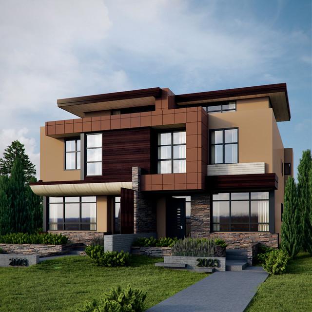Altadore semi detached residence contemporary rendering calgary