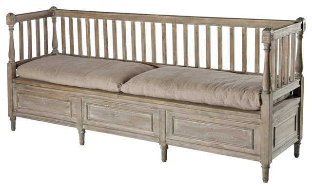 Damita French Country Weathered Gray High Back Storage Bench Sofa Long Transitional Indoor