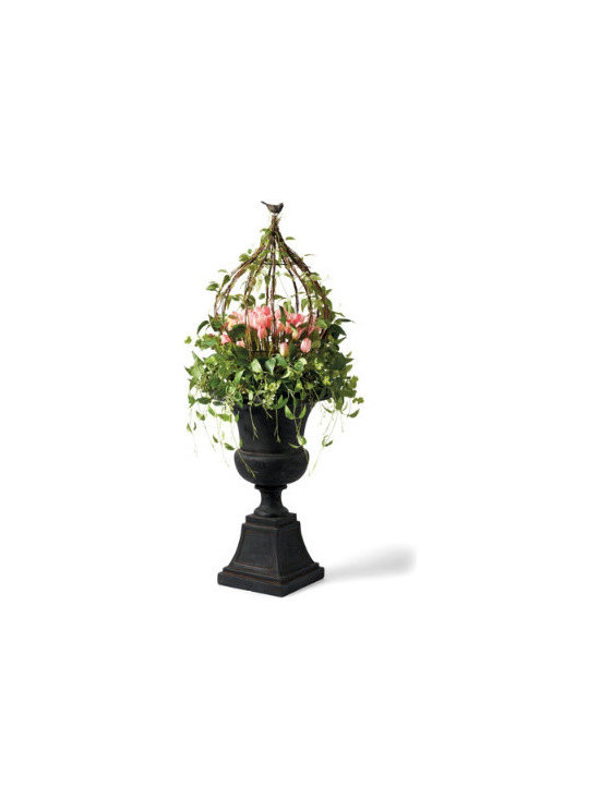 Grandin Road - Tulip Urn Filler - Urn Filler is an abundance of lifelike pink tulips and cascading spring vines entwined among a sculptural metal and twig arbor. A delightful brown resin bird perched at the top brings it all to life. Wreath is the same mix of foliage, with even more tulips, perfect for adorning a door or window. For covered outdoor or indoor use. Put a fresh new face on your home with the look of professionally desiged foliage that never needs watering, with our Tulip Urn Filler and Wreath.  .  .  .  .
