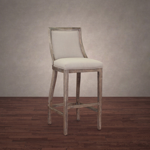 Park Avenue Beige Linen Bar Stool Contemporary Bar