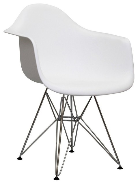 Modern white plastic lounge chair Eifel Midcentury Dining Chairs by Fur