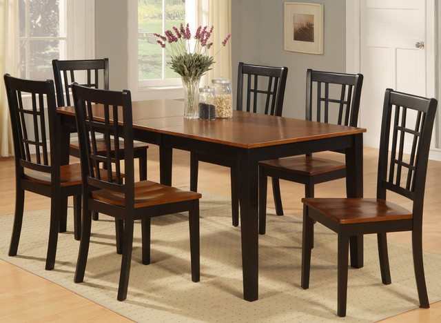 nicoli 7pc set with rectangular dining table and 6 wood seat chairs