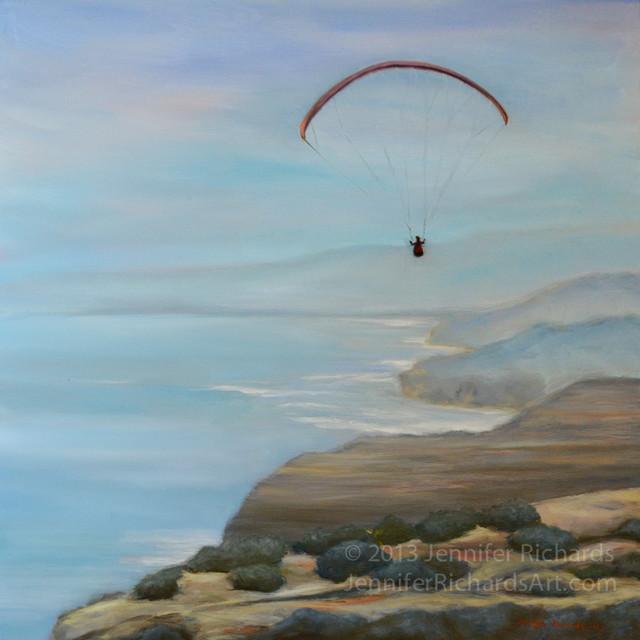 Paraglider at Torrey Pines - fine art giclée beach-style-prints-and-posters
