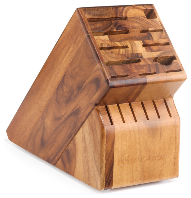 Wüsthof 17-Slot Oak Block contemporary-knife-storage