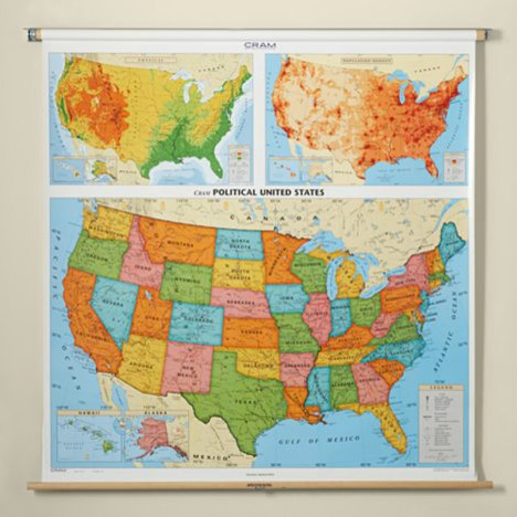 U.S. Pull-down Map traditional artwork