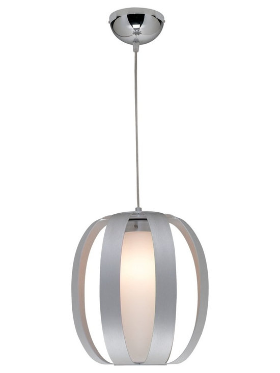 "Access - Helix Collection 12"" Wide Pendant Chandelier - Liven up your decor with a new look. This contemporary hanging pendant has a fresh style. The brushed aluminum finish chandelier features a caged opal glass. The adjustable height makes this pendant versatile for any area. Takes one 60 watt bulb (not included). 12"" wide. Minimum height is 11"" up to 120"".  Brushed aluminum finish.  Opal glass.  Takes one 60 watt bulb (not included).   12"" wide.   Minimum height is 11"" up to 120""."