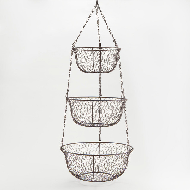 3 Tier Hanging Wire Basket Traditional Serving And