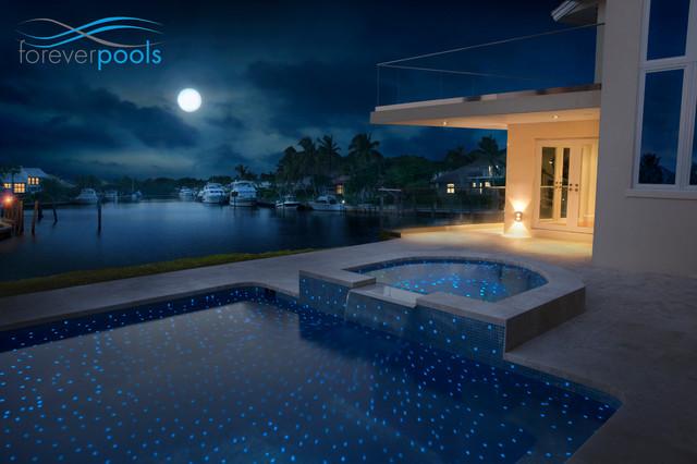 Glowing in the dark glass tile pool modern miami by - Glow in the dark swimming pool toys ...