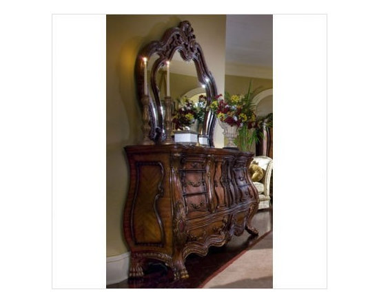 AICO Furniture - Chateau Beauvais Dresser and Mirror Set in Noble Bark - 75050/7 - Set Includes Dresser and Mirror