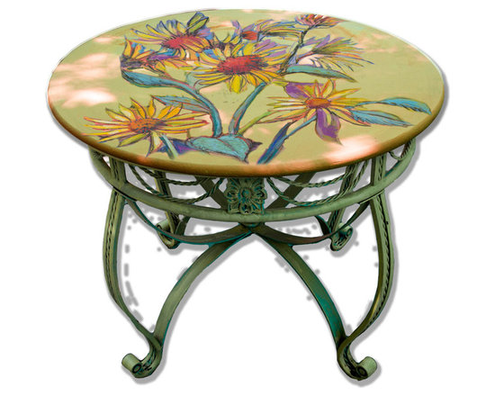 """Hand Painted Dining Bistro Table Top, 36"""". Sunflower Design -"""