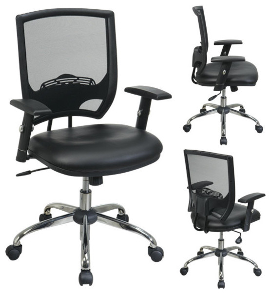 Black Screen Back Mesh Office Chair with Faux Leather Seat with
