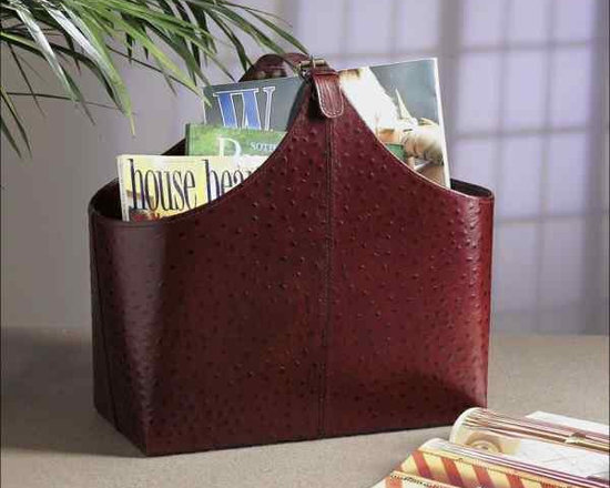 Brown Faux Ostrich Leather Magazine Holder -