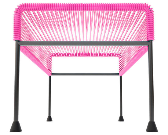 Adam Ottoman, Pink Weave On Black Frame - Sleek woven vinyl makes this coffee table stand out from the crowd. It's a great option for indoor or outdoor use since the vinyl is UV protected and the metal base is galvanized. The only challenge would be deciding on your favorite color combination.