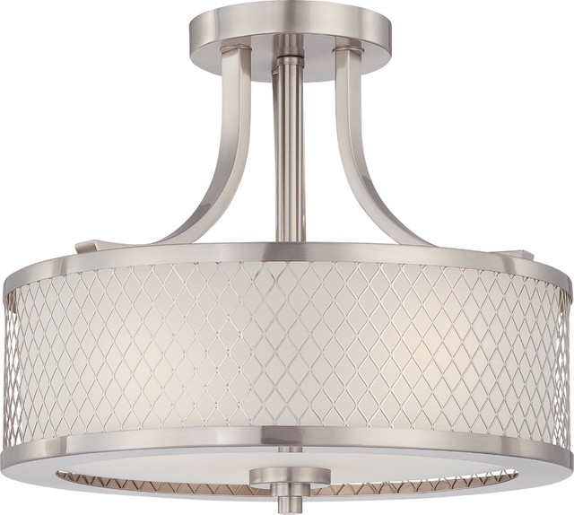 Nuvo Lighting 60 4692 Fusion Three Light Semi Flush Ceiling Fixture With Fros