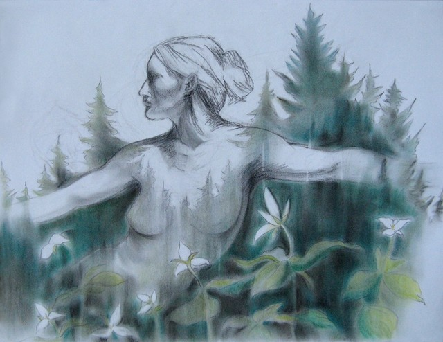 """In The Forest, Charcoal And Pastel Drawing"" Artwork contemporary-paintings"