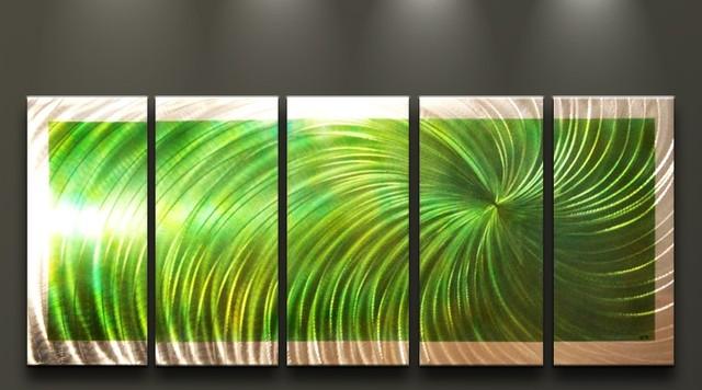 Metal Wall Art Abstract Modern Sculpture Green Swirl contemporary-artwork