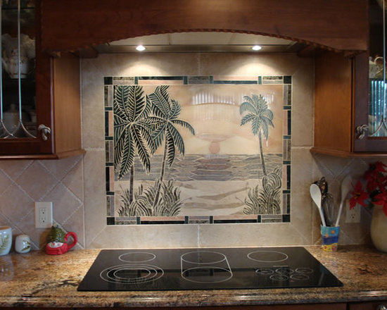 Sunset beach handcrafted backsplash marble mural
