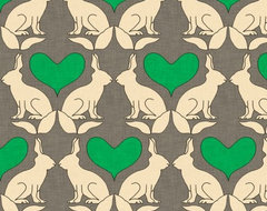 Rabbit and Heart Kelly Linen Fabric eclectic fabric