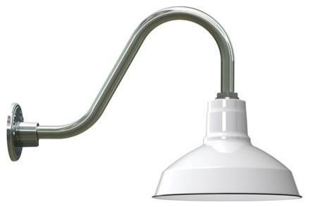 Goodrich® Dino Porcelain Gooseneck Light farmhouse-outdoor-lighting
