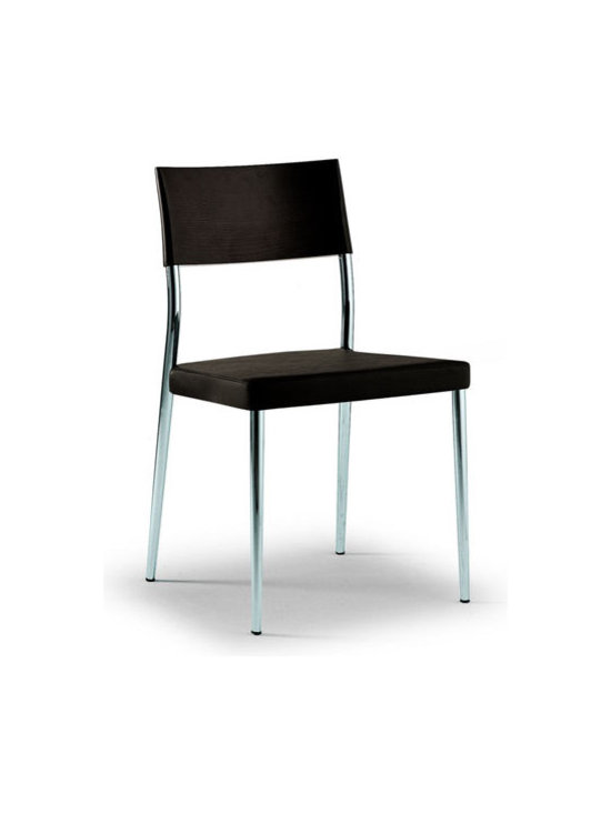 Airon Chair - Airon Chair in chrome steel, wood and leather or fabric. Contract grade.