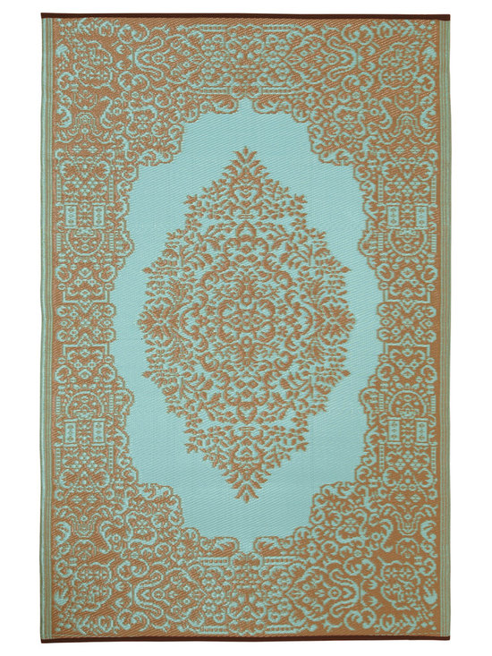 Fab Habitat - Indoor/Outdoor Istanbul Rug, Fair Aqua & Warm Taupe, 4x6 - Drink it in. The soft colors and classic styling of this rug look so traditional that you almost won't believe how it's made. Woven from recycled plastic straws, it's ecofriendly, stain and mildew resistant, reversible, easy to clean and works equally well inside or out.