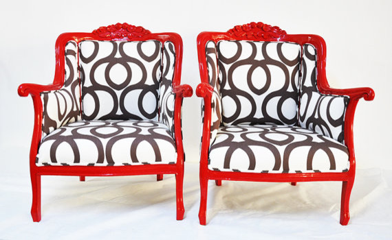 Red Armchairs with Cotton Geometric by Name Design Studio eclectic-accent-chairs