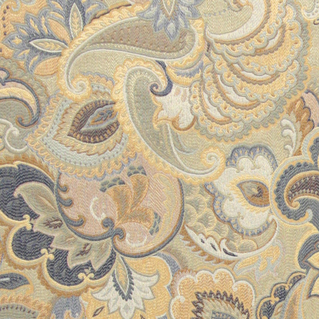 Blue, White and Gold, Abstract Floral Upholstery Fabric By The Yard contemporary-upholstery-fabric