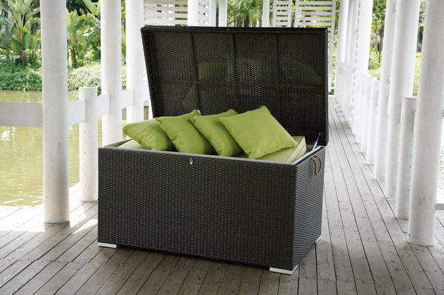 Manhattan Wicker Cushion Storage Box Modern Patio