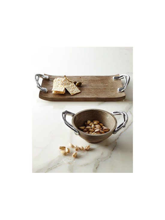 Horchow - STAR HOME DESIGNS Weathered-Wood Serveware - Functional as well as decorative, these serving pieces juxtapose weathered-wood bodies with branch-motif metal handles for a look that is both rustic and sophisticated. Handcrafted of mango wood and cast aluminum. Do not immerse in water; wipe clean w...