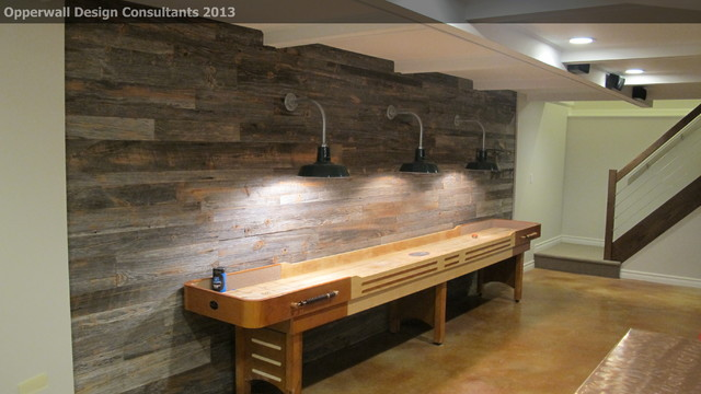 barnwood wall country basement detroit by opperwall design